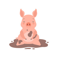 Cute little pig sitting in a dirty puddle, funny piglet cartoon character vector Illustration on a white background
