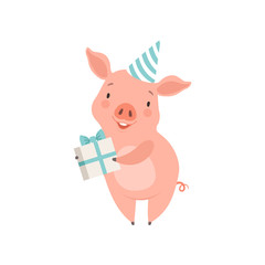 Cute little pig in party hat holding gift box, funny piglet cartoon character vector Illustration on a white background