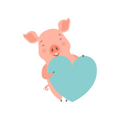 Cute happy   little pig with light blue heart, funny piglet cartoon character vector Illustration on a white background