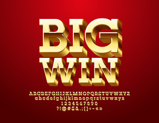Vector Casino icon Big Win. Golden 3D Font. Luxury Alphabet Letters, Numbers and Symbols