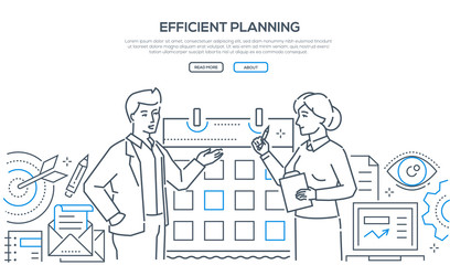 Efficient planning - colorful line design style illustration