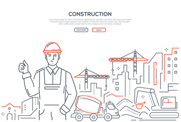 Construction - colorful line design style web banner
