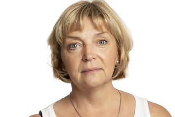Beautiful serious elderly woman, close-up