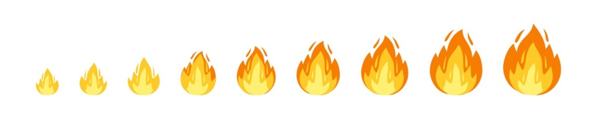 Vector fire sprites illustration for animation frames. Use in game development, mobile games or motion graphic. Bonfire, burning, explosion, torch, campfire.