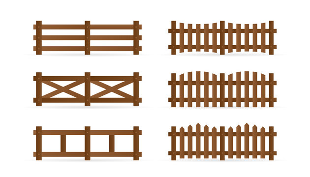 Set of different rural wooden fences. Isolated detailed elements for garden illustration design