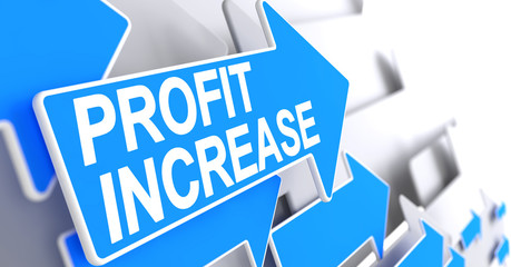 Profit Increase - Text on the Blue Cursor. 3D.