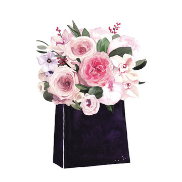 Watercolor hand-painted shopping bag with peony flowers bouquet illustration on white background