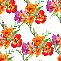 Beautiful flowers are made in watercolor. Seamless pattern on white background.