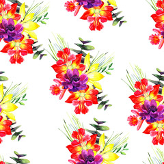 Bouquet of flowers, watercolor. Seamless pattern. beautiful flowers on a white background.
