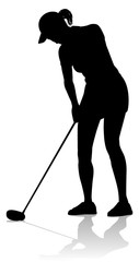 A female golfer sports person playing golf