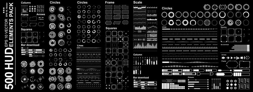 Futuristic virtual graphic touch user interface, Mega set Futuristic Hud elements