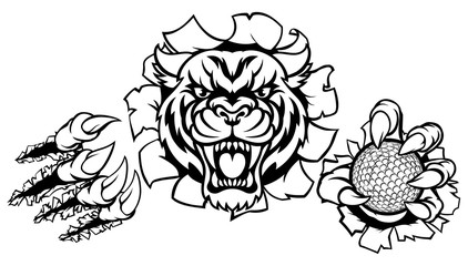 A Tiger angry animal sports mascot holding a golf ball and breaking through the background with its claws
