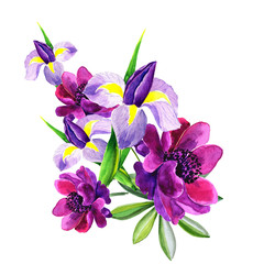 Festive flower composition on the white  background. Overhead view. greeting card, flower decoration bouquet