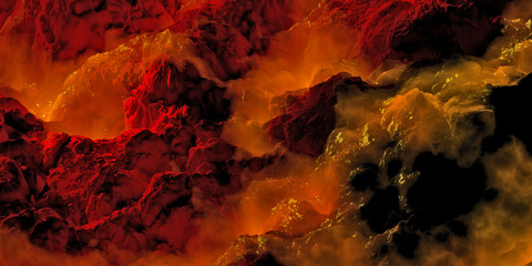 A mountain range surrounded by molten lava and magma, in a poisonous fog on a fantastic landscape.