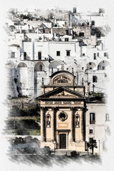 Panoramic view of the white village of Ostuni in Salento on the Adriatic sea