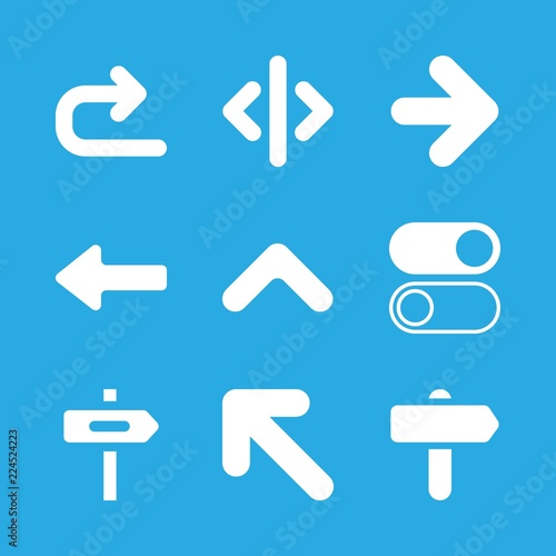 9 Turn Icons With Directional Left Arrow Symbol And Right Arrow In