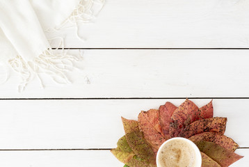 Autumn composition. Coffee and frame made of autumn colorful leaves, on white background. Flat lay, top view, seasonal concept.