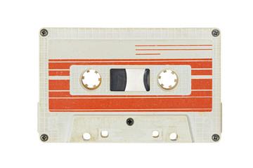 Retro white audio cassette tape isolated on white background.