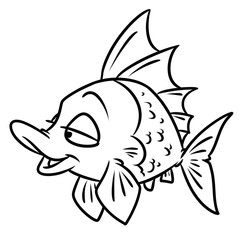 fish smile cartoon illustration isolated image coloring page