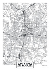 City map Atlanta, travel vector poster design