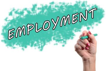 Word employment written by a hand