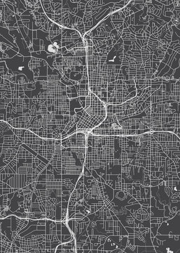 City map Atlanta, monochrome detailed plan, vector illustration