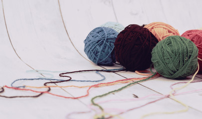 ball of yarn and white wood background