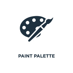 Paint palette icon. Black filled vector illustration. Paint palette symbol on white background.