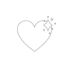 Vector Outline Shiny Heart, Black Lines, Icon on White Background.