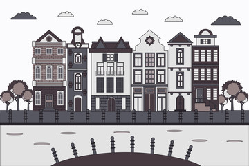 Banner old city houses in flat style. European retro style building facades. Travel concept. Vector illustration.