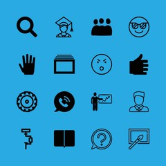 adult icons set with photo painting, presentation and angry face stroke vector set
