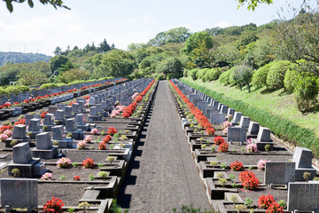 Landscape Japanese grave site with