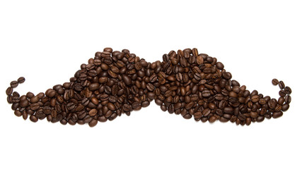 Big moustache icon / symbol/ sign made of roasted coffee beans isolated on white background.