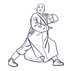 outline Chinese vector shaolin monk in black and withe in kung fu pose, wearing an orange traditional dress