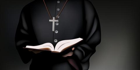 Un prêtre catholique en soutane tient la bible dans ses mains, pour prier Dieu.