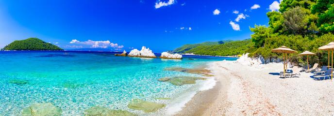 Obraz Best beaches of Skopelos island - relaxing Milia beach. Sporades, Greece - fototapety do salonu
