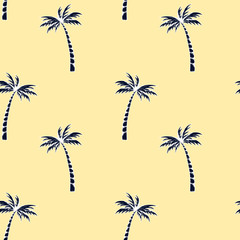 Palm tree pattern. Summer doodles. Fabric design. Tropical palms. Ocean background. Beach rest. Hand drawn effect. Surf sport. Traveling or vacation design.