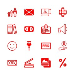 advertising icons set with scanning, money and picture square vector set