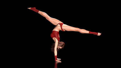 Dancing athletic woman, fit dancer girl in sports outfit doing handstand exercise on black background, 3D rendering