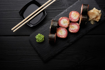 Sushi set with wasabi and ginger and soy sauce