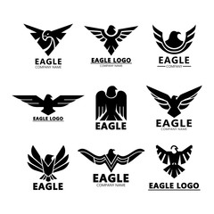 Black eagles silhouette for company branding