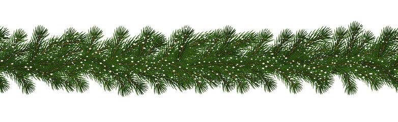Green Christmas border of pine branch with snow, seamless vector isolated on white background. Xmas