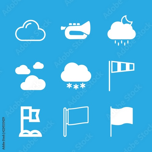 9 Wind Icons With Trumpet And Air Sock Weather Symbol For Winds