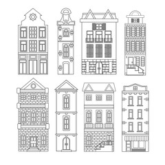 Set of european black-white old houses isolated white background. Retro style building facades. Vector illustration.