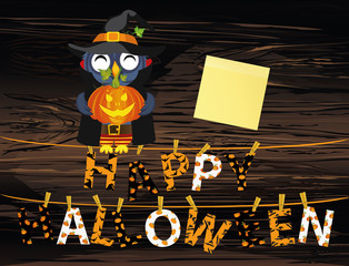 Owl in a suit witch with pumpkin sits on a rope with Letters and an inscription Happy Halloween hang on clothespins. Vector on wooden back. Festive garland. Greeting card or invitation to a party
