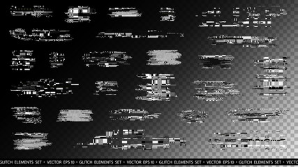 Glitch elements set. Computer screen error templates. Digital pixel noise abstract design. Poster design pixel details. Glitches collection. TV signal fail. Data decay. Technical problem grunge.