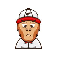 Ape monkey trainer coach logo mascot character illustration