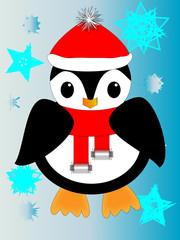 Dibujo animado de pingüino con bufanda y gorra entre copos de nieve