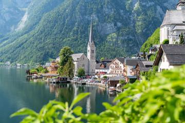 Aussicht auf das Dorf Hallstatt, Salzkammergut, Österreich