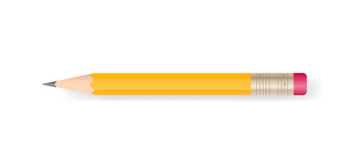 Yellow pencil on white background with soft shadow. Vector.